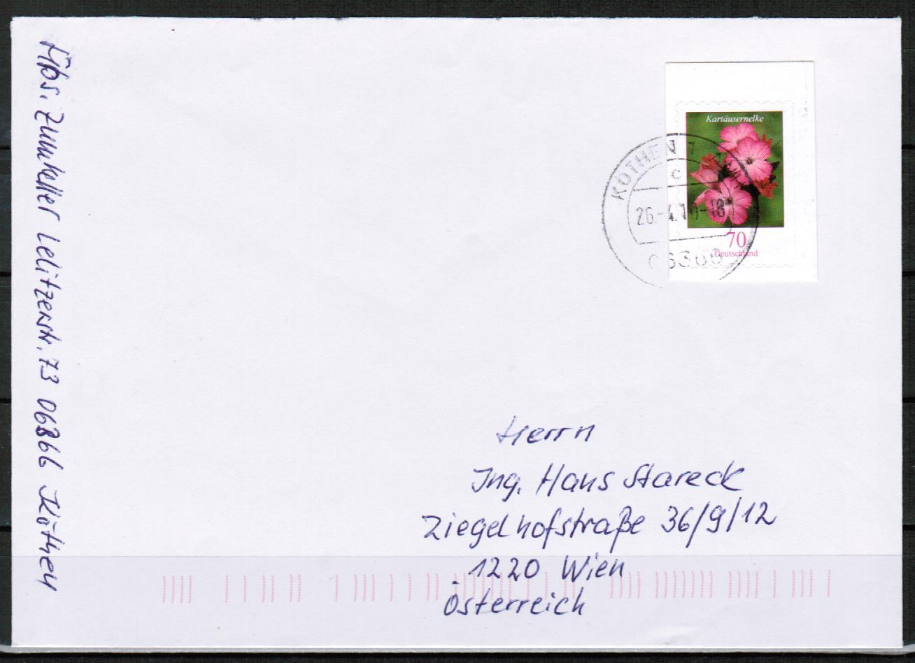 Brief Nach österreich Schicken Porto Philaseiten Gestempelte